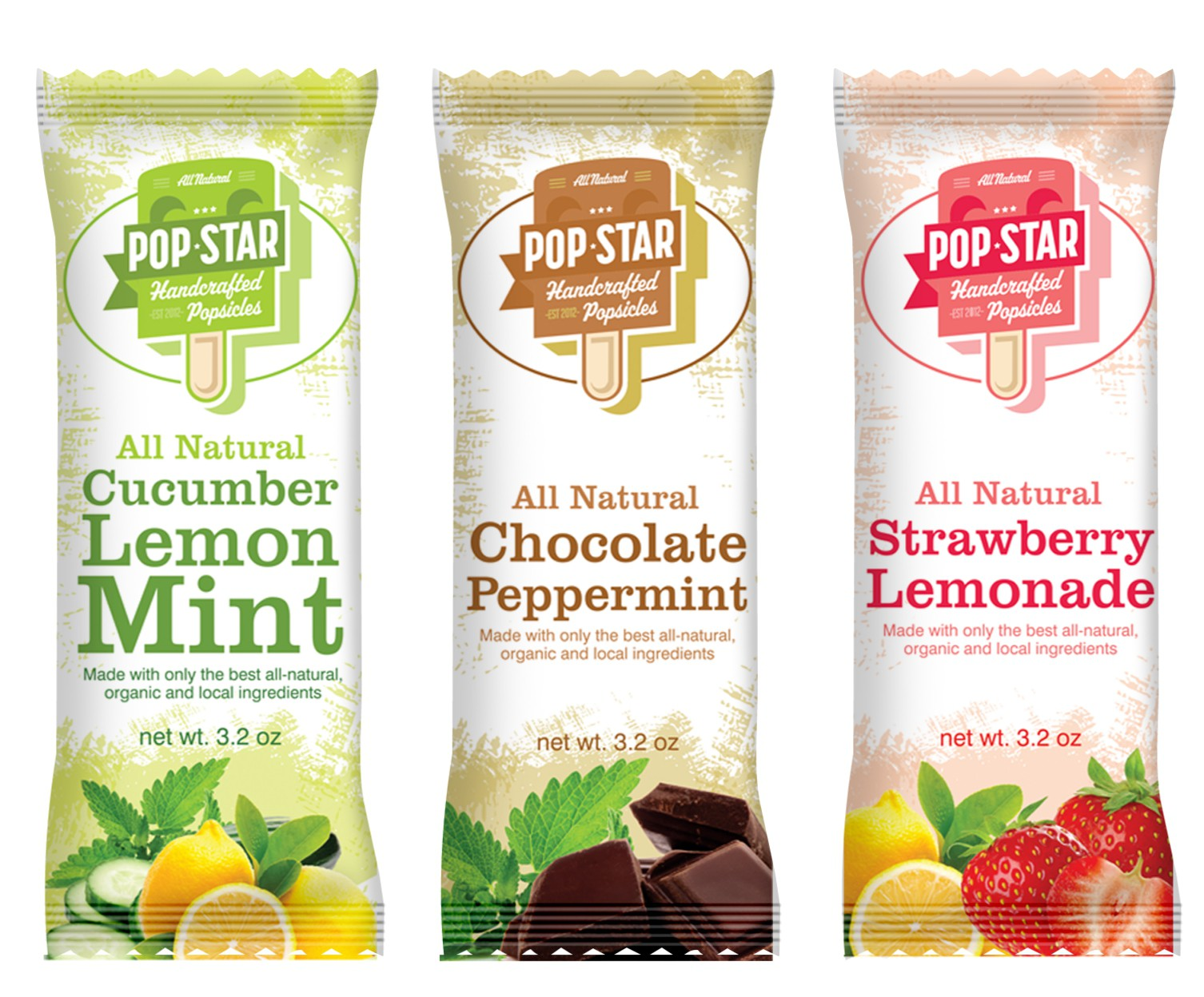 Create the next product packaging for Pop Star Handcrafted Popsicles