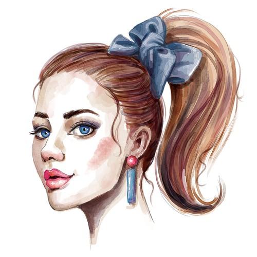 Watercolor lady portraits