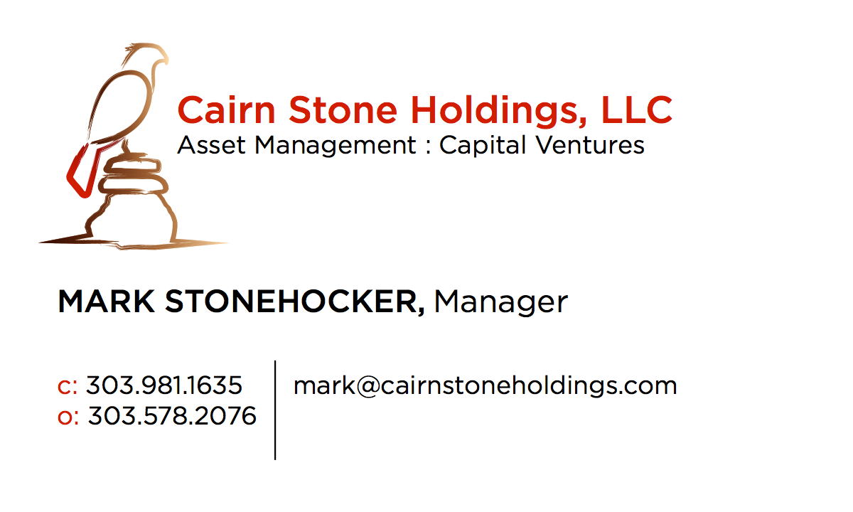 Hawk with rocks biz card