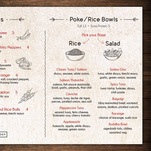 Menu and illustrations design for the restaurant