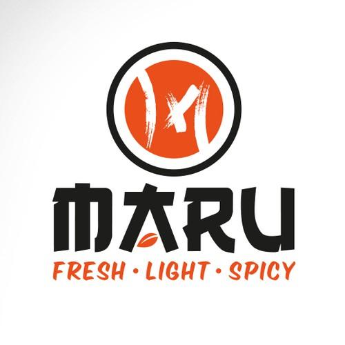 """Erstellt bitte ein Logo für das asiatisches Gastronomiekonzept """"MARU""""."""