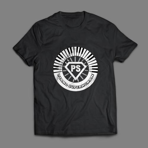 "Piano Superhuman""  Powerful T Shirt Design"