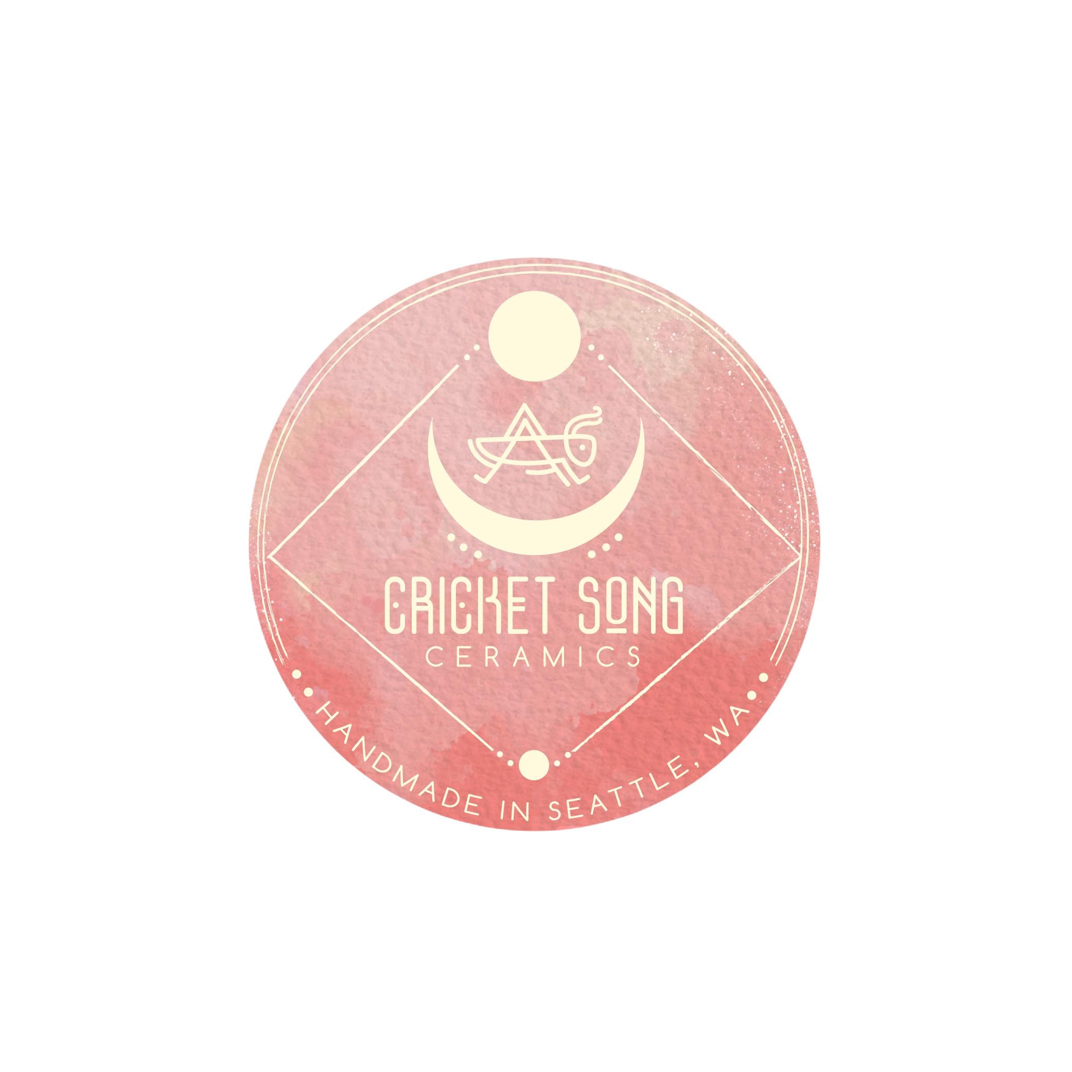 Sacred & feminine logo & stamp for Homemade pottery: Cricket song ceramics