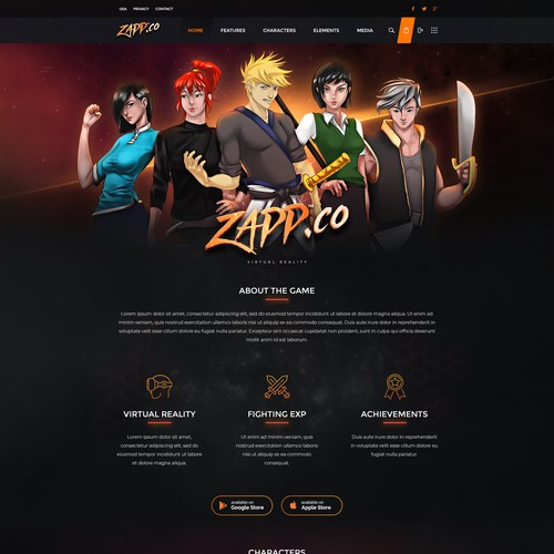 Zapp Extended Virtual Reality Landing Page Design