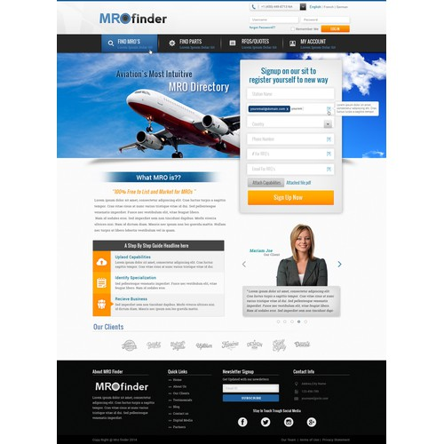 Create a modern Landing Page with Large Webform for Aviation B2B Directory