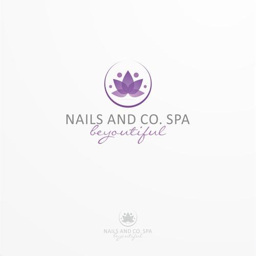Create an elegant logo for a high end nail salon and spa