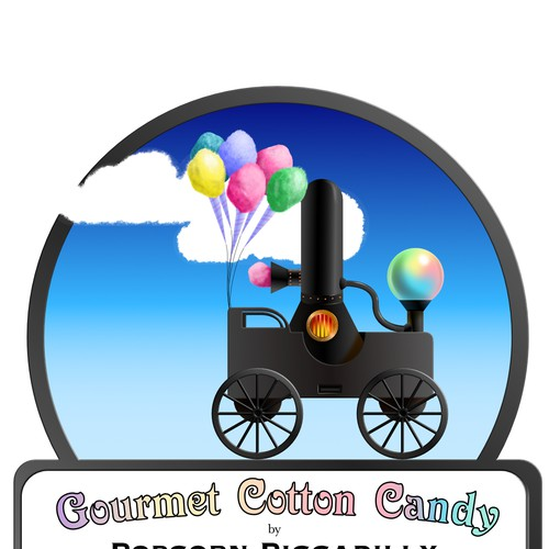 Steampunk sticker for a gourmet cotton candy brand.