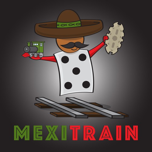 Mexican Train Dominoes Character Logo