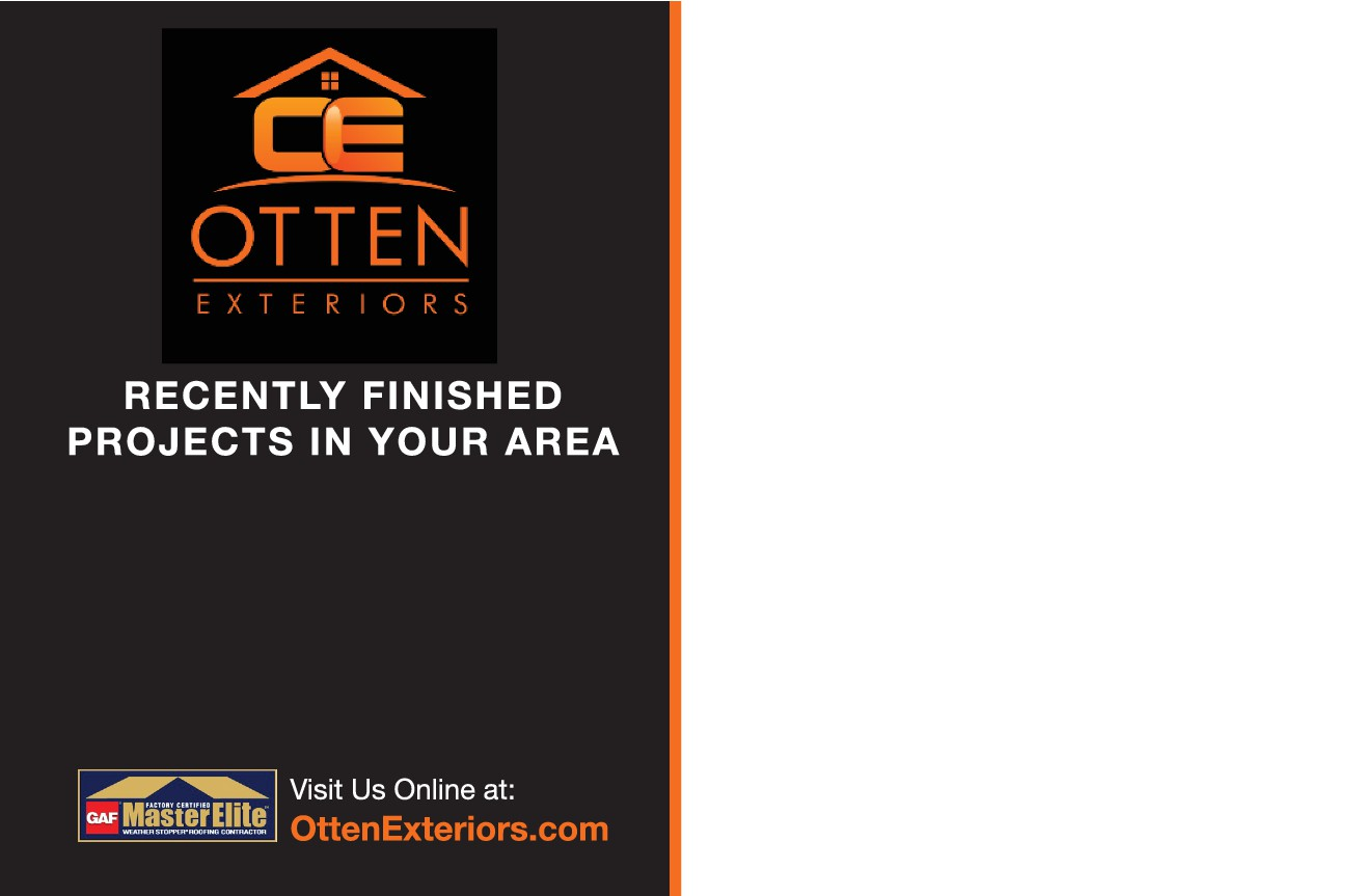 Create a attention getting roofing brochure for otten exteriors