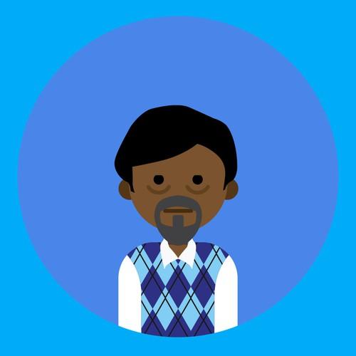 tired afro man flat illustration