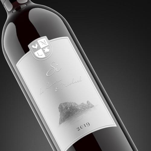 Wedding wine label design Si de Laura & Michael