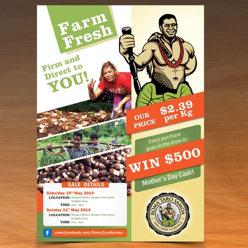 Eye catching flyer advertising market sales of fresh taro
