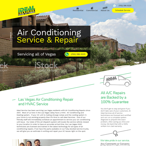 Website design for an HVAC service company.