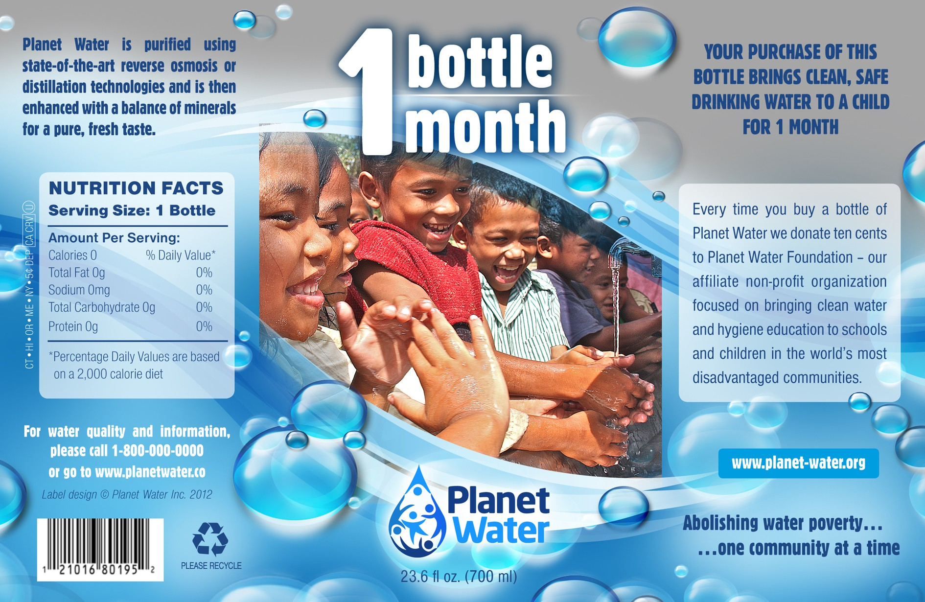 Help PLANET WATER with a new product label