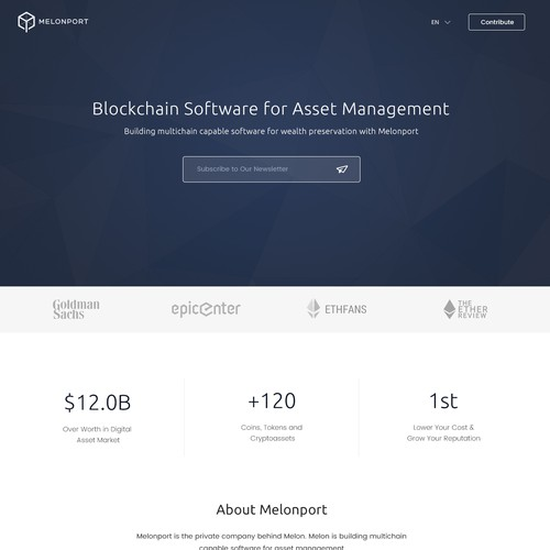 Elegant Website for Melonport Blockchain Software