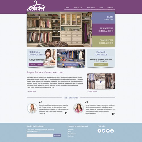 IdeaOverTen, LLC -agency for CreativeClosets needs a new website design