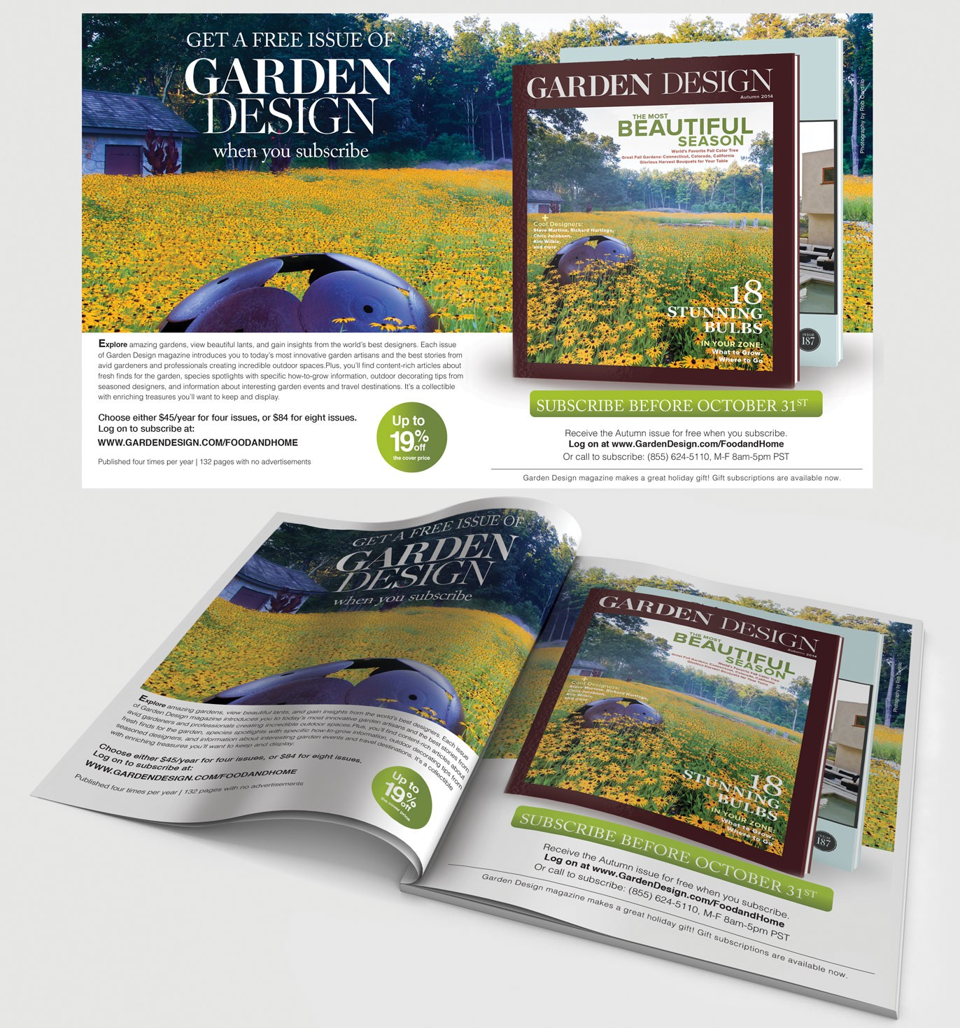 Create a two-page spread ad for consumer magazine