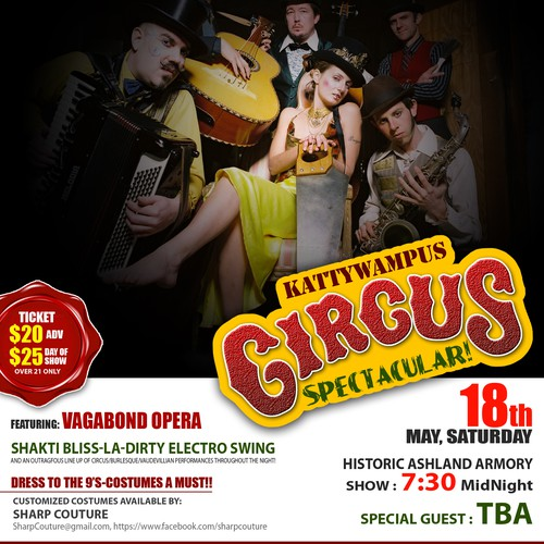 Create the next postcard or flyer for kattywampus Circus Spectacular