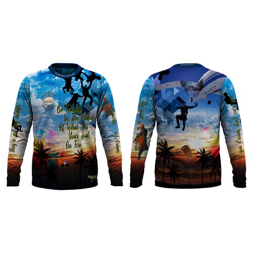 Create a pleasing jersey design for a World Famous Skydiving Center