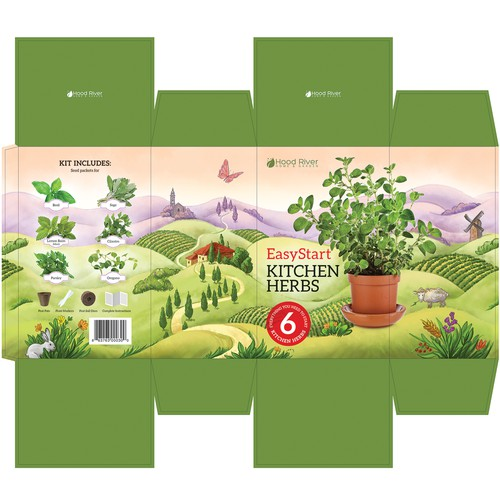Kitchen Herbs kit box design. Packaging design with custom hand drawn illustration.