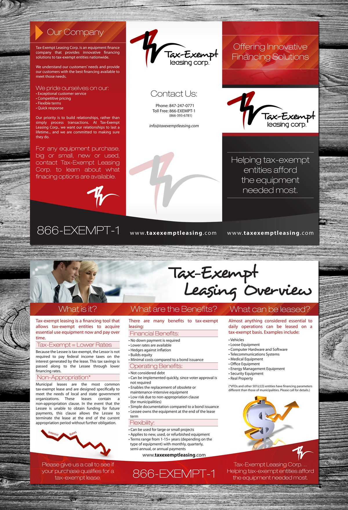 BE CREATIVE - New Brochure and Display for Municipal Leasing Company