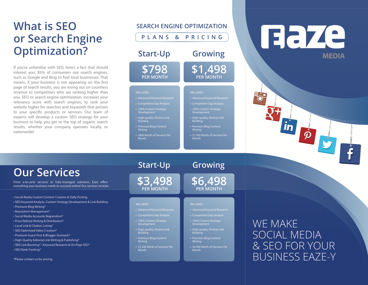 """I need 1 full page print ad designed for SalonPro Equipment & 1 NEW 8.5"""" x 11"""" trifold brochure for EAZE MEDIA"""