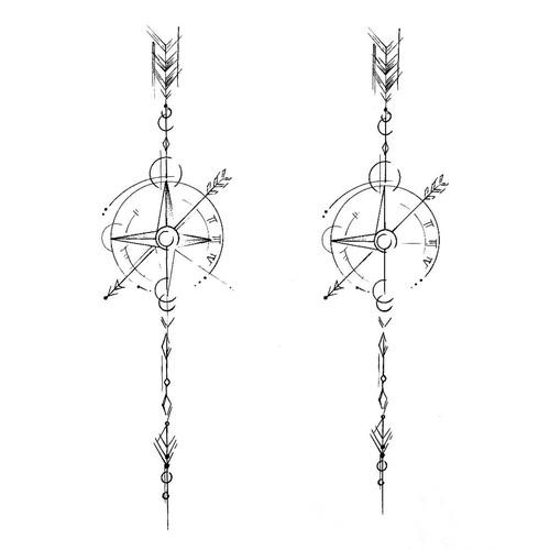 Geometric Arrow & Compass Tattoo