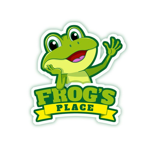Cartoon frog logo for a baby product brand