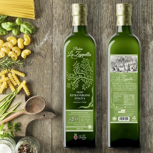 Extra virgin olive oil, label design
