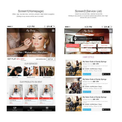 Service providers and Beauty Application design