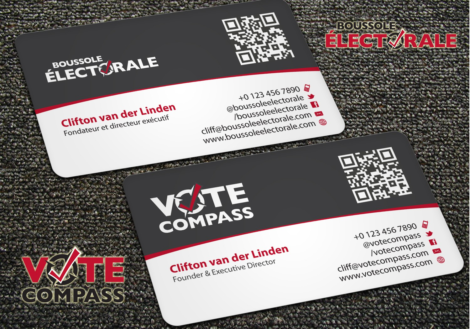 Vote Compass business card design
