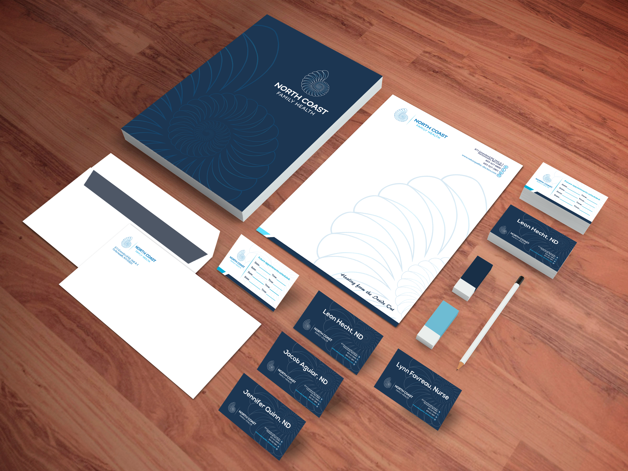 Using the current logo, please design business card and stationary