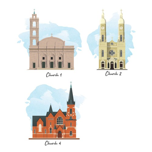 Church Silhouette Illustrations