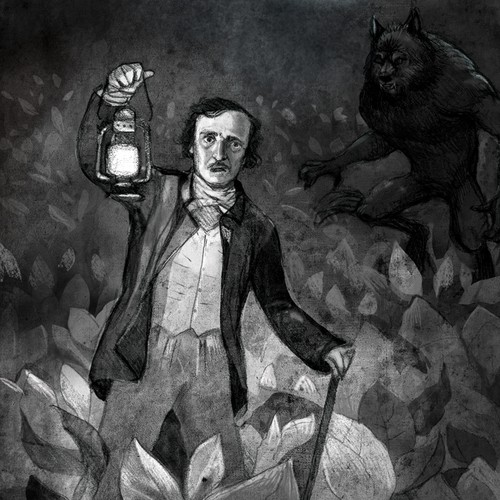 Create hand drawn illustrations to accompany a horror novella collection.