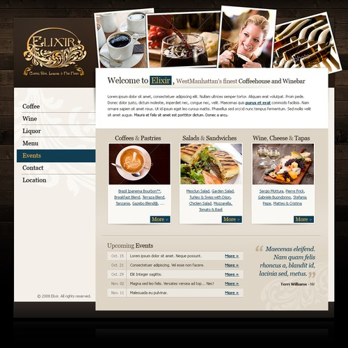Home Page Design For Elixir Coffeehouse and Winebar
