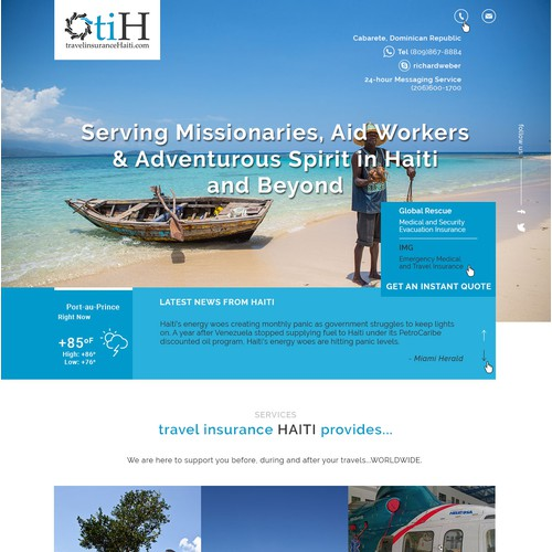 Landing page for Travel Insurance Haiti