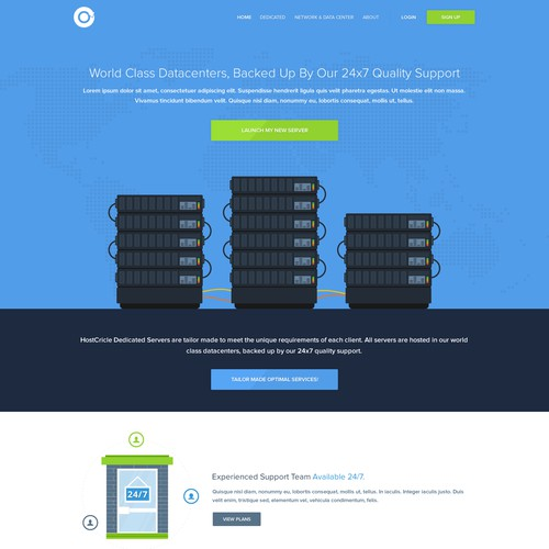 Simple, user friendly and Illustrative design for hosting company