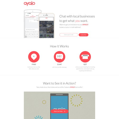 Clean and simple landing page for an innovative app
