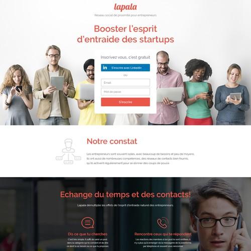 Landing page for collaborative entrepreneurs