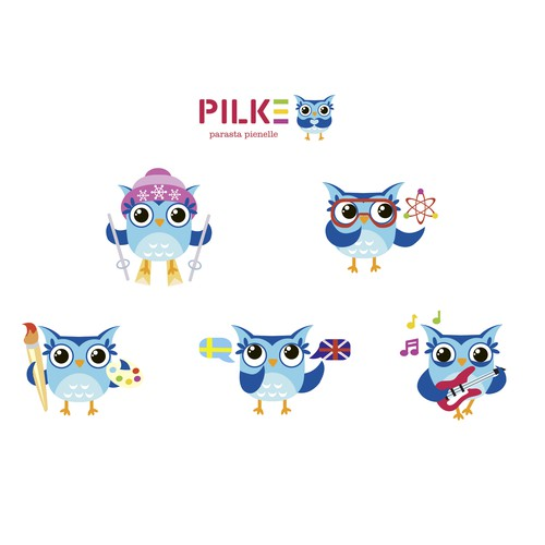 Owl mascot for daycare centers in Finland