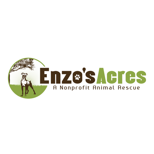 Rock this design for Enzo's Acres. A rescue & refuge for large breed dogs.