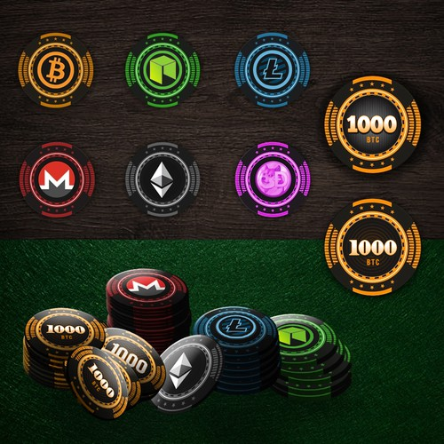 Poker chip set cryptocurrency theme!