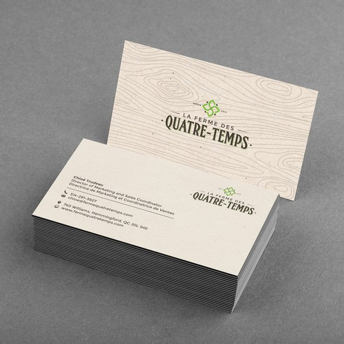 Business cards for La Ferme des QuatreTemps