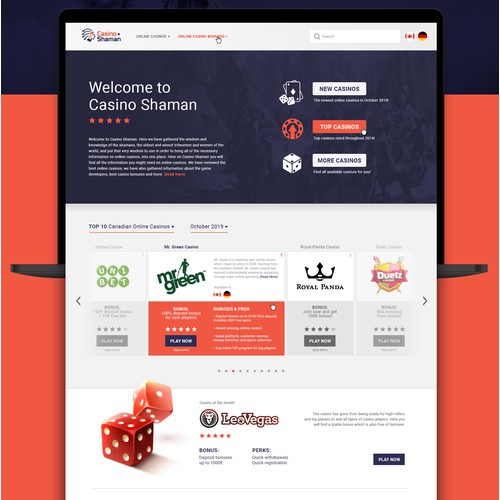 Website Design - Casino Shaman
