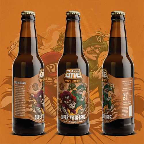 player one brewery label design