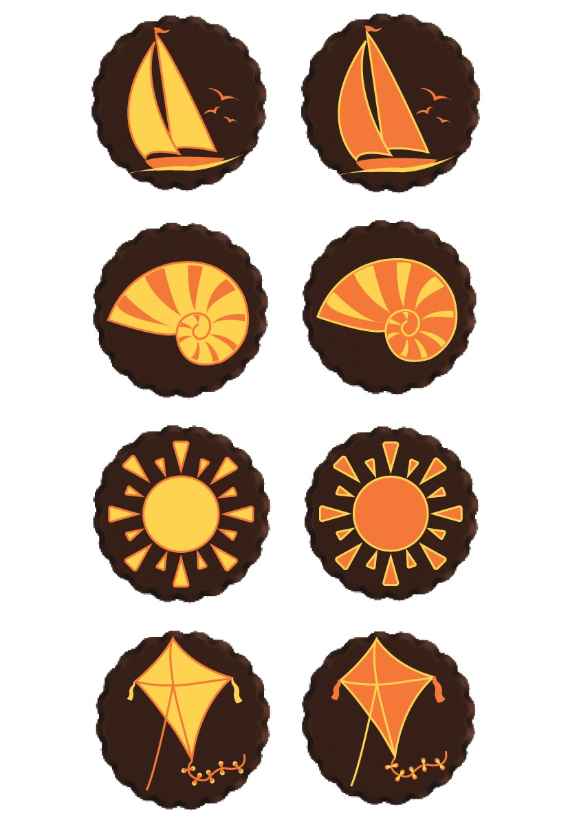 Simple summer themed designs for chocolates