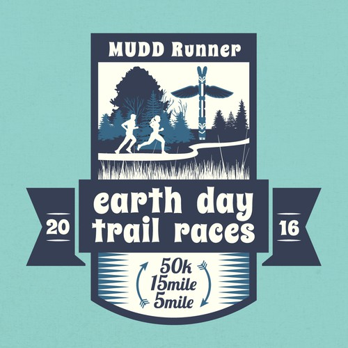 T-shirt Design for MUDD Runner Earth Day Trail Races.