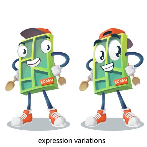 An initial sample with color variations for a vector mascot character