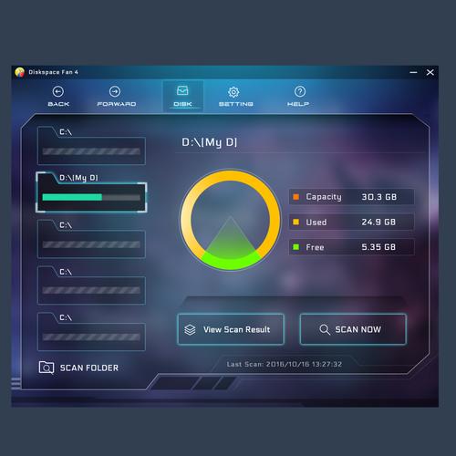 Disk Space Fan App UI Design