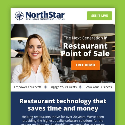Email Template design for POS software for the hospitality industry